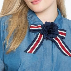 Striped Bow Tie Necklace with Flower Preppy New
